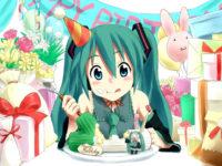 Hatsune Miku поздравляет с днем рождения открытка скачать бесплатно на сайте otkrytkivsem.ru