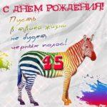 Открытка 45 лет женщине прикольная скачать бесплатно на сайте otkrytkivsem.ru