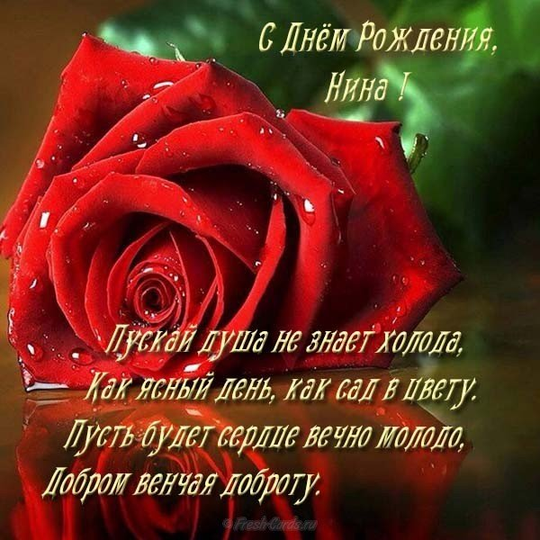 Открытка красивая с днем рождения женщине Нине скачать бесплатно на сайте otkrytkivsem.ru