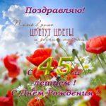 Открытка на 45 лет женщине красивая скачать бесплатно на сайте otkrytkivsem.ru