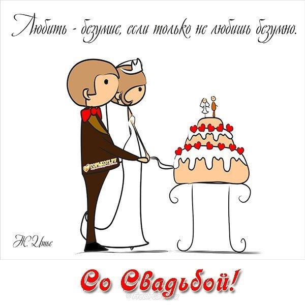 Поздравления с днем свадьбы открытки прикольные