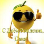Открытка прикольная с днем рождения Саня скачать бесплатно на сайте otkrytkivsem.ru
