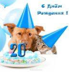 Открытка с 20 летием парню прикольная скачать бесплатно на сайте otkrytkivsem.ru