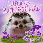 Открытка с днем рождения с ежиком скачать бесплатно на сайте otkrytkivsem.ru