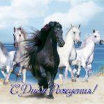 Открытка с днем рождения с лошадьми скачать бесплатно на сайте otkrytkivsem.ru