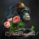 Открытка с днем рождения с обезьянкой скачать бесплатно на сайте otkrytkivsem.ru