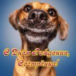 Открытка с днем рождения сестре прикольная скачать бесплатно на сайте otkrytkivsem.ru