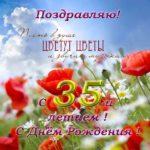 Открытка с днем рождения женщине 35 скачать бесплатно на сайте otkrytkivsem.ru