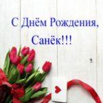 Открытка с днём рождения Санёк скачать бесплатно на сайте otkrytkivsem.ru