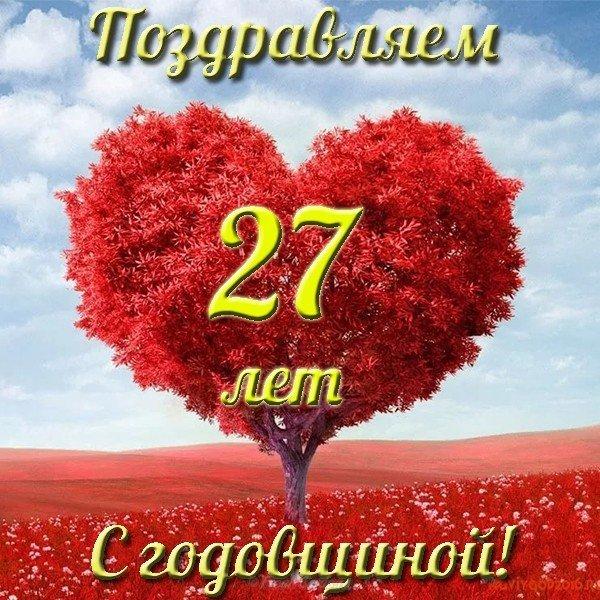 Днем рождения, поздравления с 27 годовщиной свадьбы в картинках