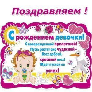 Открытка с рождением малышки скачать бесплатно на сайте otkrytkivsem.ru