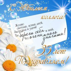 Открытка с юбилеем коллеге 35 лет скачать бесплатно на сайте otkrytkivsem.ru