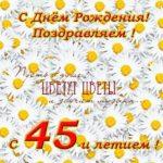 Поздравительная открытка с 45 летием женщине скачать бесплатно на сайте otkrytkivsem.ru