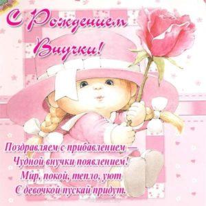 Поздравления с рождением внучки в стихах открытка скачать бесплатно на сайте otkrytkivsem.ru