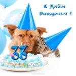 Прикольная открытка 33 года скачать бесплатно на сайте otkrytkivsem.ru