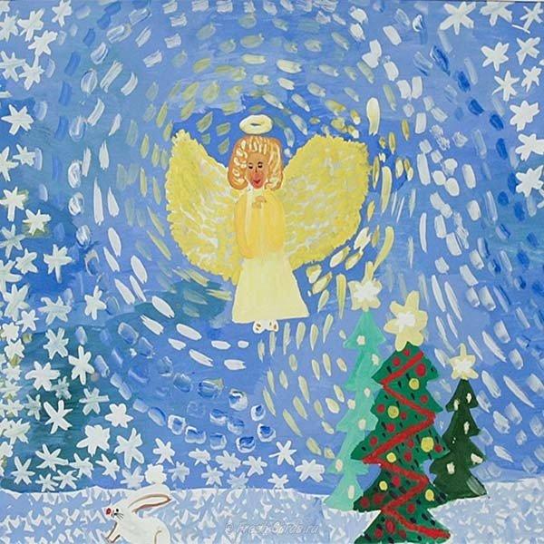 Рождественская открытка нарисованная детьми, для