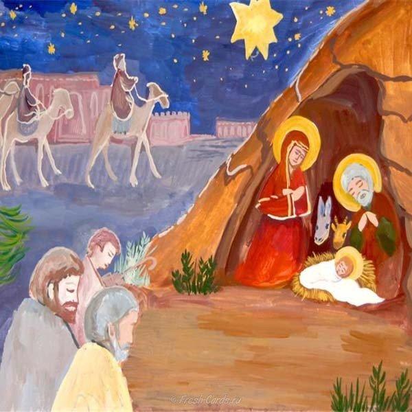Рождественские открытки нарисованные детьми, поздравлениями свадьбой