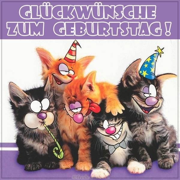 Немецкая открытка на день рождения с котами