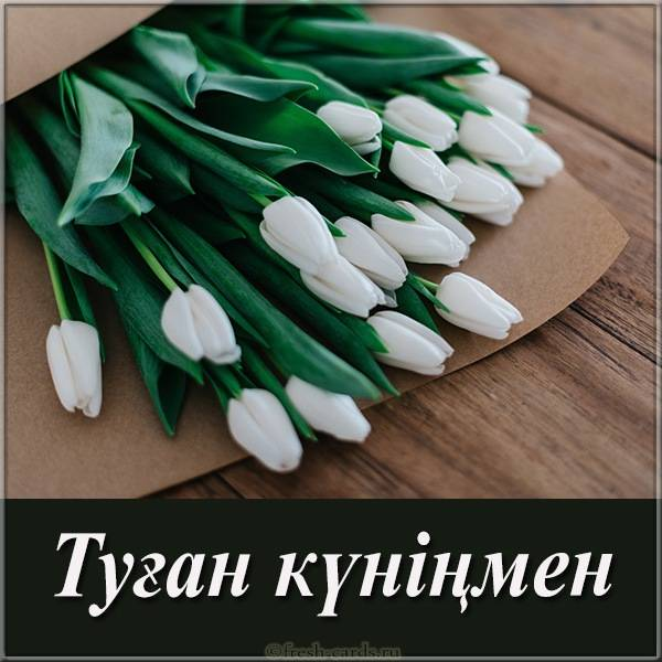 Открытка с днем рождения Казахская