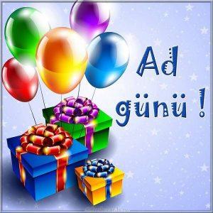 Мужская открытка на день рождения на Азербайджанском