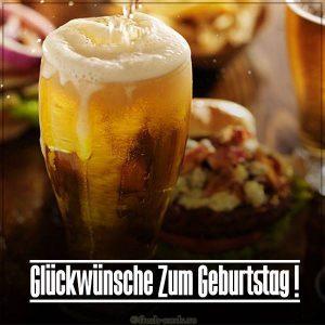 Картинка на день рождения на Немецком языке с пивком