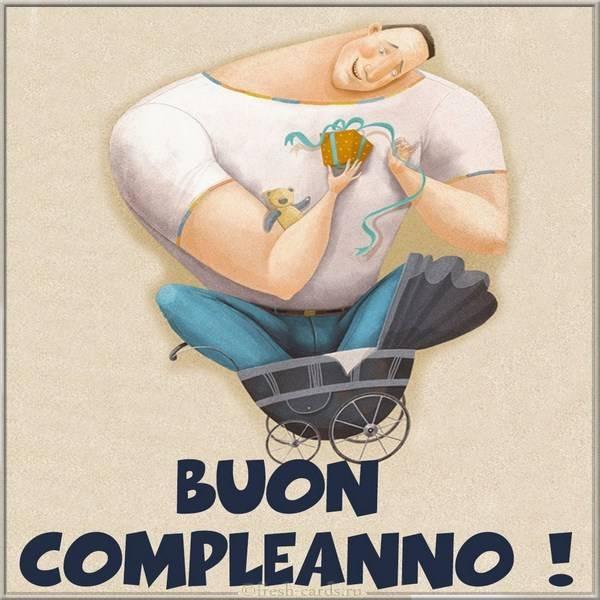 Милая Итальянская открытка с днем рождения