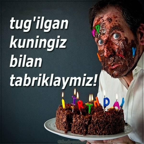 Открытка с тортом на день рождения по Узбекски