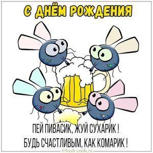 Прикольная открытка с днем рождения с комариками