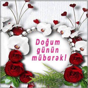 Открытка на Азербайджанском с днем рождения