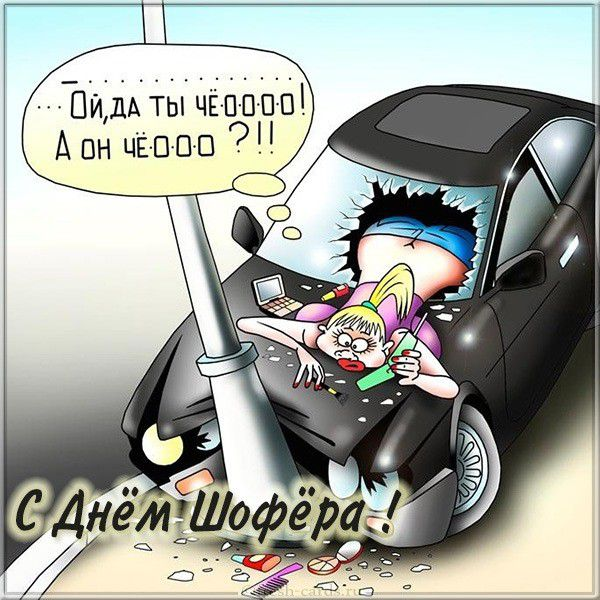 Комичная открытка на день шофера девушкам