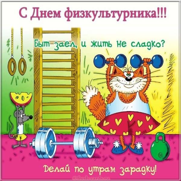 Открытка с юмором на день физкультурника в России