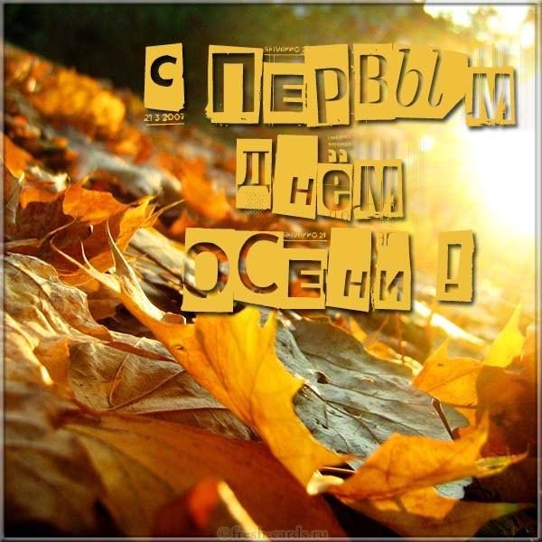 Красивая открытка с первым днём осени