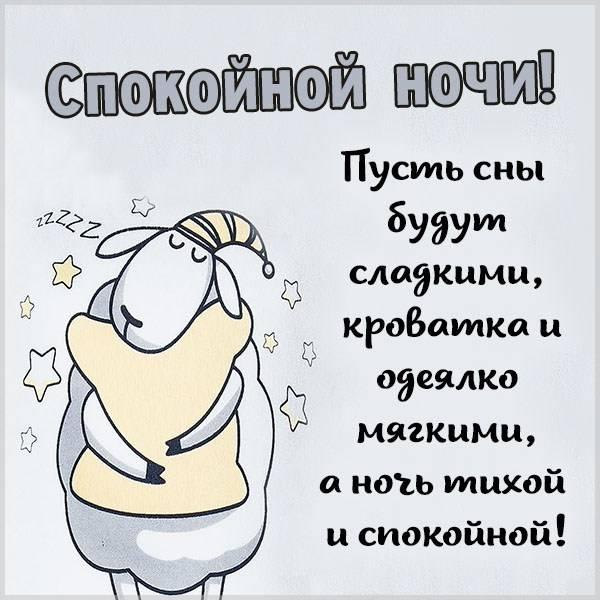 Бесплатная картинка спокойной ночи прикольная с пожеланием - скачать бесплатно на otkrytkivsem.ru