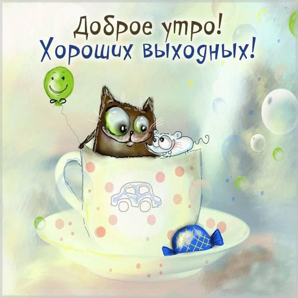Картинка доброе утро хороших выходных прикольная смешная - скачать бесплатно на otkrytkivsem.ru