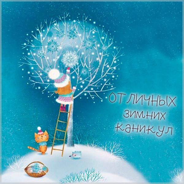 Картинка отличных зимних каникул - скачать бесплатно на otkrytkivsem.ru