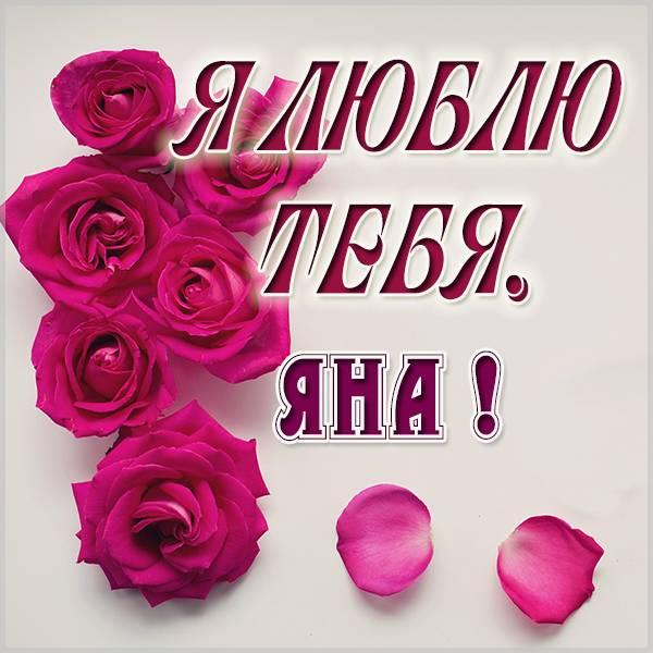 Картинка с надписью Яна я тебя люблю - скачать бесплатно на otkrytkivsem.ru