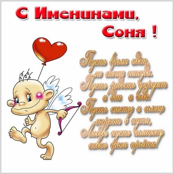 Картинка с поздравлением с днем Сони - скачать бесплатно на otkrytkivsem.ru