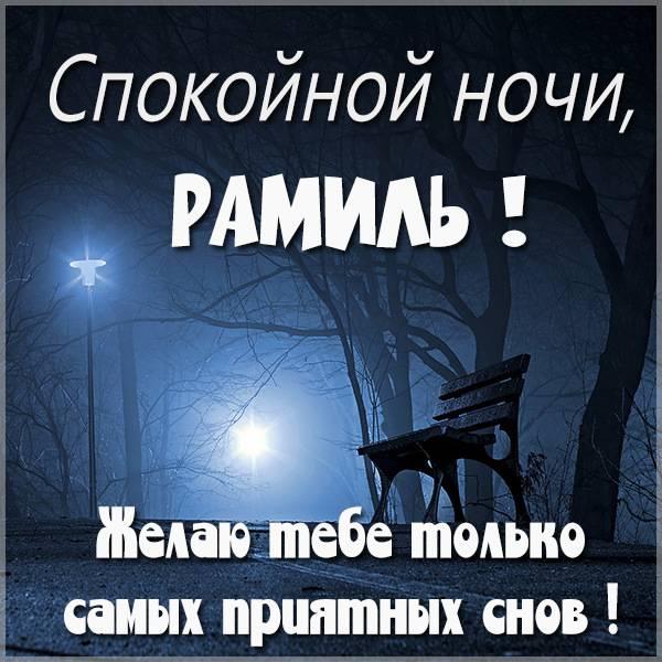 Картинка спокойной ночи Рамиль - скачать бесплатно на otkrytkivsem.ru