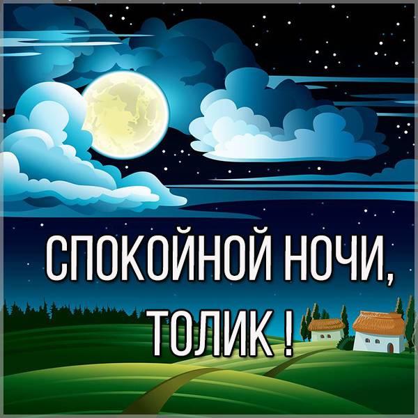 Картинка спокойной ночи Толик - скачать бесплатно на otkrytkivsem.ru