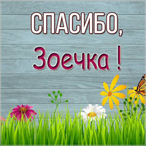 Картинка Зоечка спасибо - скачать бесплатно на otkrytkivsem.ru