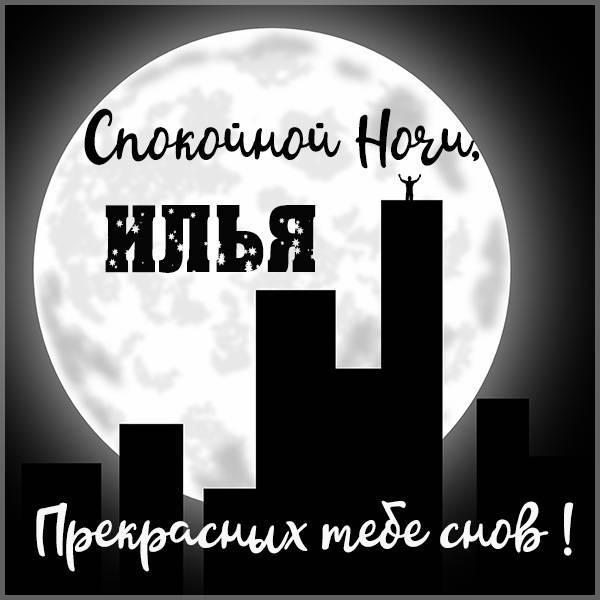 Красивая картинка спокойной ночи Илья - скачать бесплатно на otkrytkivsem.ru