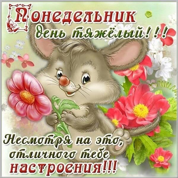 Красивая открытка про понедельник день тяжелый - скачать бесплатно на otkrytkivsem.ru