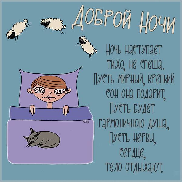 Открытка доброй ночи прикольная женщине - скачать бесплатно на otkrytkivsem.ru
