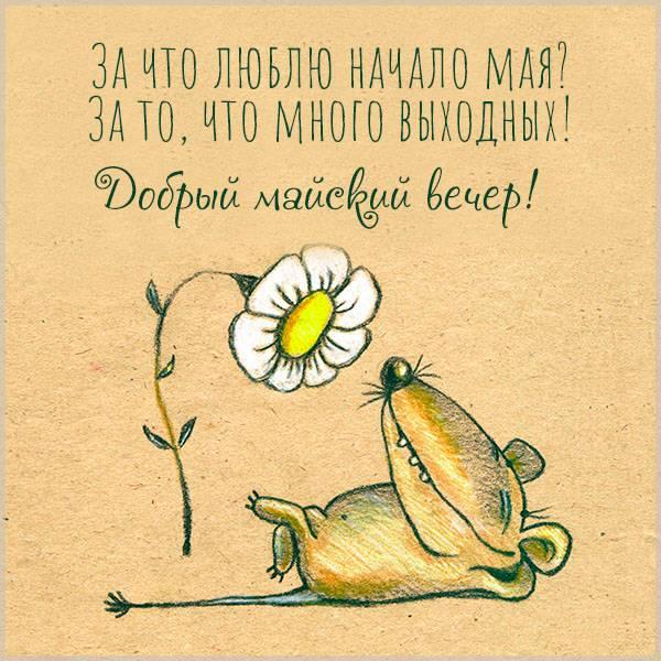 Открытка добрый майский вечер прикольная - скачать бесплатно на otkrytkivsem.ru