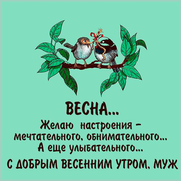 Открытка мужу с добрым весенним утром - скачать бесплатно на otkrytkivsem.ru