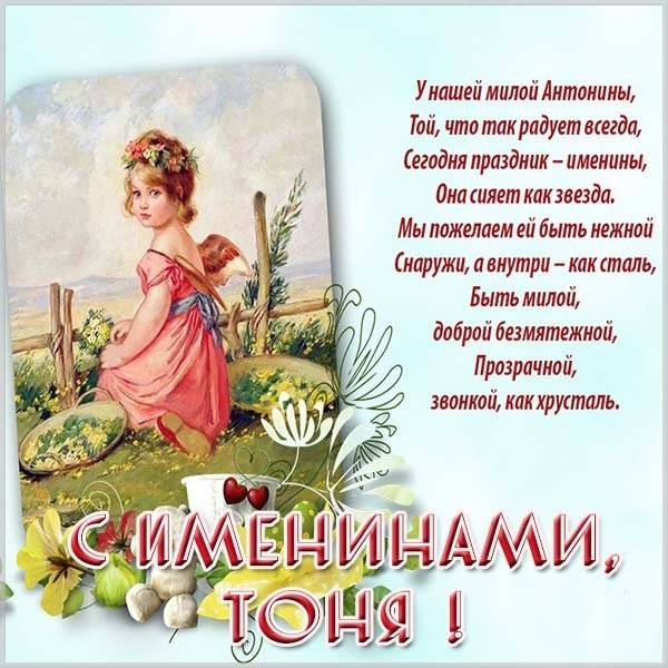 Открытка на день Антонины с поздравлением - скачать бесплатно на otkrytkivsem.ru
