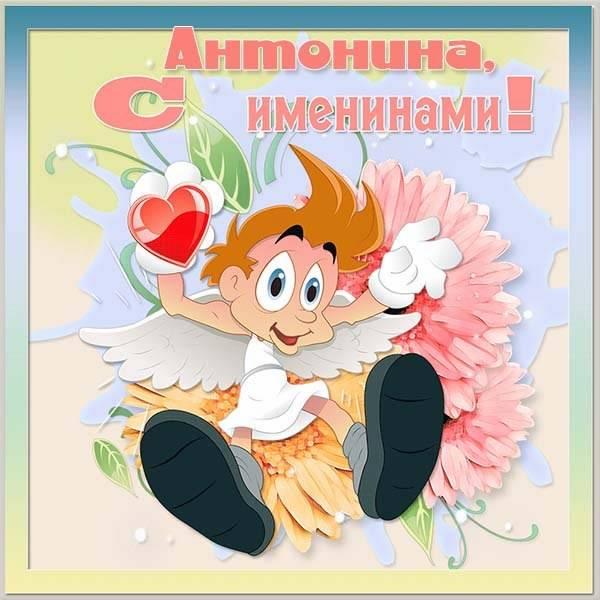 Открытка на именины Антонины - скачать бесплатно на otkrytkivsem.ru