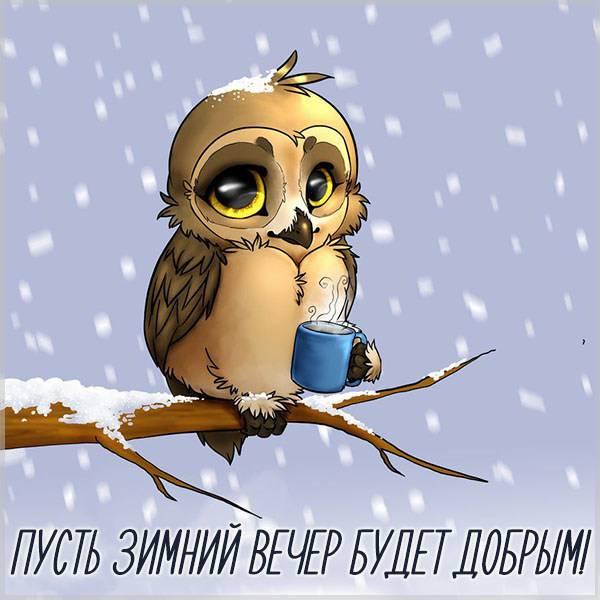Открытка с пожеланием доброго вечера зимнего - скачать бесплатно на otkrytkivsem.ru