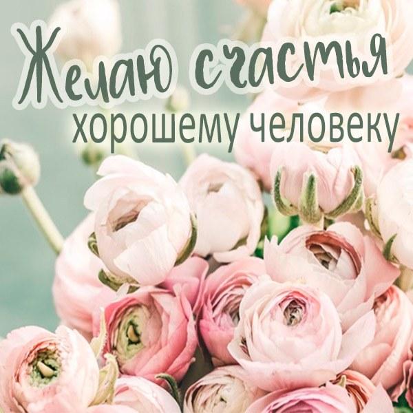 Открытка с пожеланием счастья хорошему человеку - скачать бесплатно на otkrytkivsem.ru