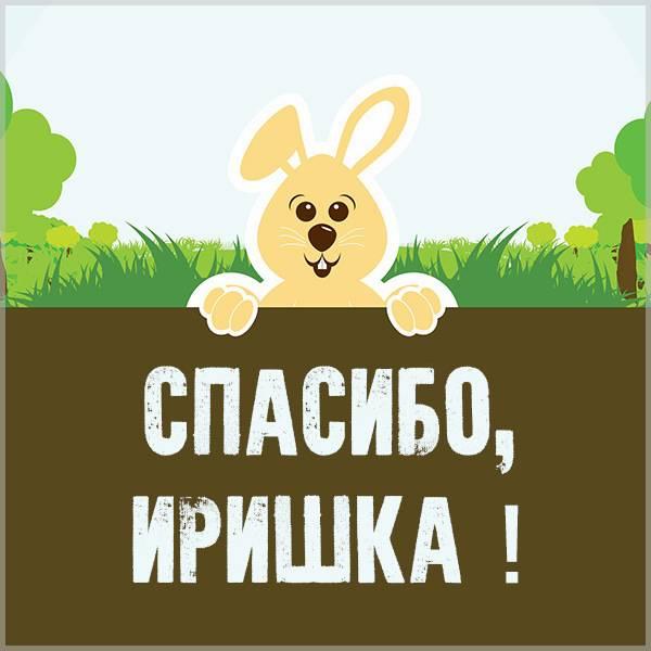 Открытка спасибо Иришка - скачать бесплатно на otkrytkivsem.ru